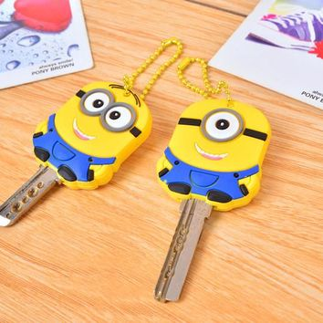 Popular minions Key cover, novelty items cute silicone key cover, Key Caps Keys Keychain 2pcs/lot free shipping