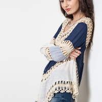 Multi Colored Crochet Top - Navy