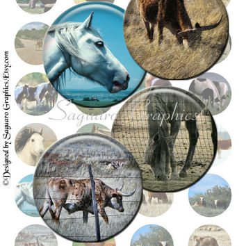 HORSES & CATTLE - 1.5 inch circles - Digital Collage Sheet photos for Jewelry Makers, Pendants, Bottle Caps, Scrapbooking, Arts and Crafts