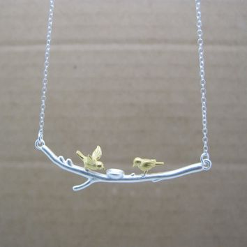 Fashionable Simple Two-color Birds Elegant 925 Sterling Silver Necklace