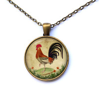 Chicken pendant Rooster necklace Bird jewelry CWAO9