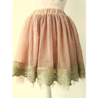 Vintage Style Lace Tulle Skirt // Romantic Whimsical Fairy Tale Brown Tutu Crochet Soft Spring Light