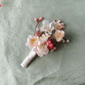 mens wedding boutonniere pink flower buttonhole by thehoneycomb