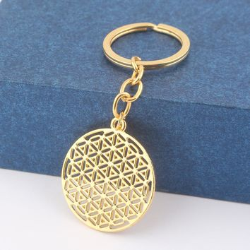 Supernatural Flower of Life Keychain Round Gold Silver Pendant Key Chain Egyptian Simple Tai Chi Keyring Women Men Jewelry