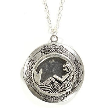 Mermaid Locket Necklace Antique Silver Tone Ocean Siren Pendant NP49 Fashion Pendant