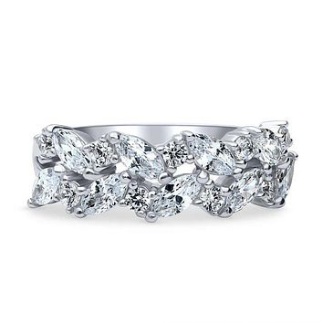 A Perfect 2.2TCW Marquise Cut Russian Lab Diamond Cluster Eternity Ring
