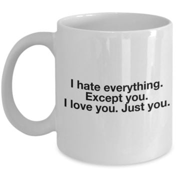 Funny Valentine's Day Gift, Coffee Mug - I HATE EVERYTHING EXCEPT YOU I LOVE YOU JUST YOU - Best Gift for Boyfriend Girlfriend Husband Wife Friend