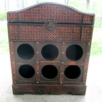 Wine Rack Wood Chest Vintage Storage Bar Camelbak