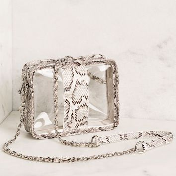 Clear View White Snakeskin Purse