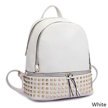 Dasein Buffalo Leather Studded Backpack with Bottom Zipper Compartment | Overstock.com Shopping - The Best Deals on Crossbody & Mini Bags