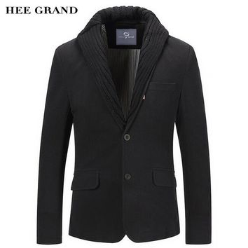 HEE GRAND Men Casual Blazer 2018 New Whole Cotton Material Single Breasted Special Collar Design Slim Blazer Masculino MWX388
