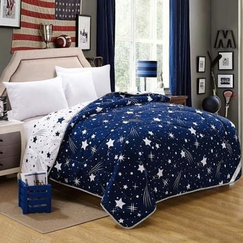 100% Microfiber Fabric Summer Throw Quilts Comforter Starry Printed Queen King Size Bed Cover Sheets Soft Blanket Single Quilts