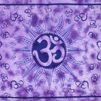 Sunshine Joy Om Sun Tie-Dye Tapestry - Beach Sheet - Hanging Wall Art - Perfect for Meditation and Yoga (Purple)