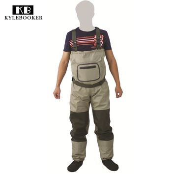 2017 New Fly Fishing Stocking Foot Chest Waders Affordable Breathable Waterproof Chest Wader KB002