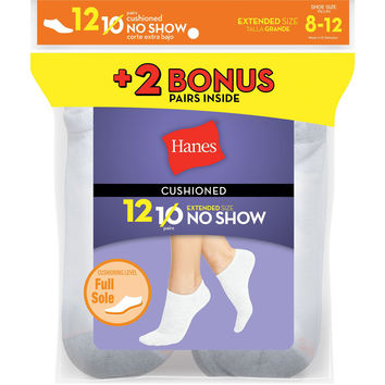 Hanes Womens Cushion No-Show Socks White 12-Pack (Includes 2 Free Bonus Pairs)