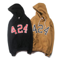 424 Casual Long-Sleeved Hooded Sweater Coat