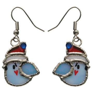 Stained Glass Winter Bird Earrings