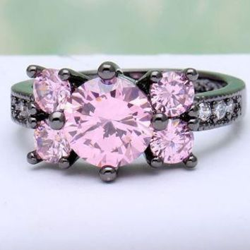 Unique and Beautiful!  Pink Czech Diamond Crystal Set in a 18k Black Gold Plated Ring