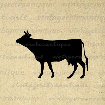 Cow Silhouette Image Printable Digital Farm Animal Download Graphic Antique Clip Art for Transfers Printing etc HQ 300dpi No.3343