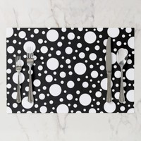Custom Black and White Polka Dots Paper Placemat