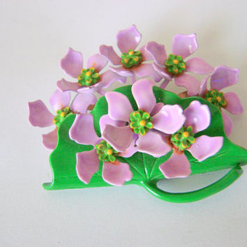 Vintage Violet Flower Cart Enamel Metal Brooch / Lavender / Green / Lilac / Floral Bouquet / Jewelry / Jewellery