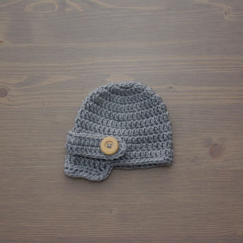Crochet Grey Newsboy Cap, Newborn Photography Prop, Crochet Baby Hat, Crocheted Baby Hat, Baby Shower Gift, Newsboy Hat, Baby Boy, Girl