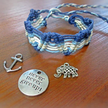 Surfer Hemp Bracelet Custom Charm EcoFriendly Bracelet Blue Macrame Cuff