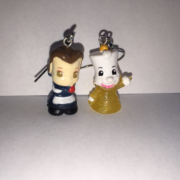 Squinkies Earrings -  Belle and Lumiere - Beauty & The Beast - made from re-purposed toys