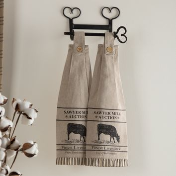 Sawyer Mill Charcoal Kitchen Towels - Cow