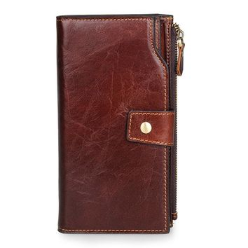 LEINASEN Genuine Leather Female Wallet Men Long Design Male Coin Purse with Pocket Walet Portomonee Rfid Clutch Men Handy