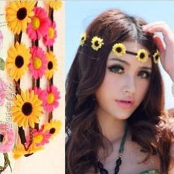 Daisy Sunflower Headband Carnival Festival Bridal Hair Accessory (Color: White) = 1697171140