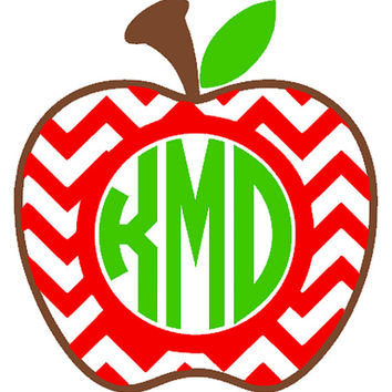 Chevron Apple Monogram Car Decal, Window Sticker, Teacher Gift
