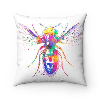 Colorful Bee Square Pillow