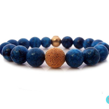Natural Turkey Turquoise Gemstone and Gold Vermeil Bracelet, 12mm Turquoise and 22 carat Gold Vermeil Granulation Bead Bracelet