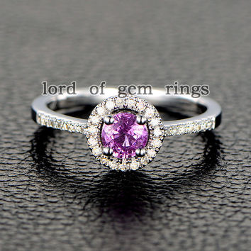Round Pink Sapphire Engagement Ring Pave Diamond Wedding 14K White Gold 5mm