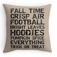 Fall Burlap Look Pillow Cover, Decorative Throw, Fall Decor, Available in 16x16, 18x18, and 20x20