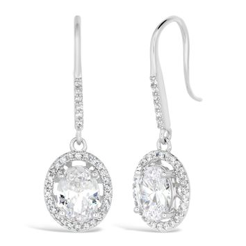 Sterling Silver Oval Halo Cubic Zirconium Fish Hook Earrings