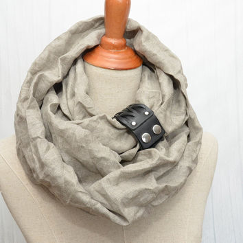 Linen Infinity Scarf. Chunky Scarf. Natural Linen. Original color. Black leather cuff.