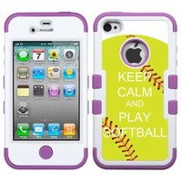One Tough Shield ® 3-Layer Hybrid Design phone Case (White/Purple) for Apple iPhone 4 4s - (Keep Calm / Softball Green)