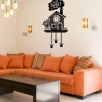 Vinyl Wall Decal Sticker Home Sweet Home Cuckoo Clock #OS_DC190