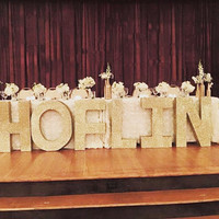 Wedding centerpieces-Styrofoam letter-Glitter Free standing letters-Party decor-Wedding decor- Styrofoam letter--Personalized tables