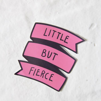 Little But Fierce Pink Banner Sticker