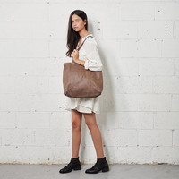 Large Brown Leather Handbag Tote Toshi Bag