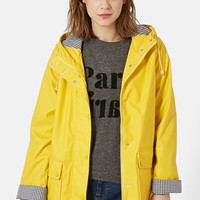 Women's Topshop Hooded Plastic Raincoat ,