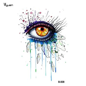 WYUEN Watercolor Women Eye Temporary Tattoo Sticker Waterproof Fashion Fake Body Art Arm Tattoos 9.8X6cm Kids Hand Tatoo B-008