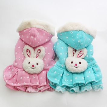 New Dog Cat Dress Hoody Rabbit Pet Puppy Coat Jacket Winter Warm Clothes 5 sizes 3 Colours