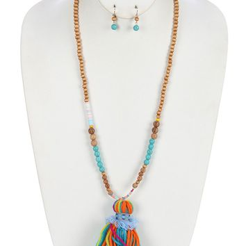 Turquoise Wooden Bead Color Yarn Tassel Pendant Necklace And Earring Set