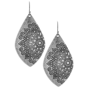 Mandala Pressed Petal Drop Earrings - Gold or Silver