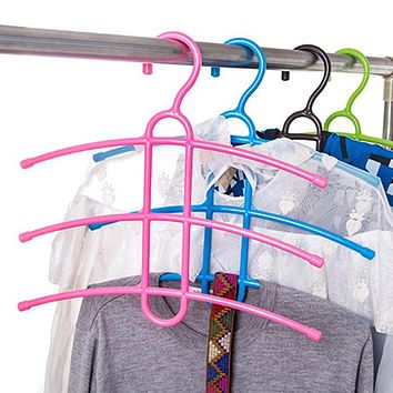 Three Layer Anti-skid Plastic Racks of Fishbone Clothes Hanger Clothes Rack Multifunctional Wardrobe Clothes Hanging