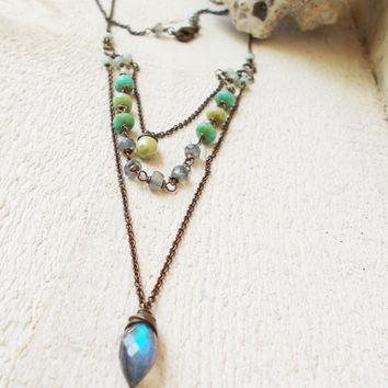 Labradorite dew drop layered three strand necklace, briolette gemstones, green & blue turquoise czech glass, beaded rosary link style chain